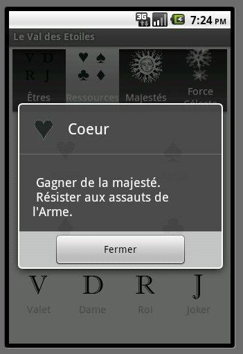 écran des Ressources, détail du Coeur
